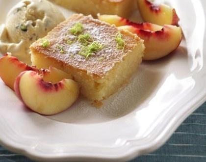 ... cake with pistachio and halva ice-cream via The Sydney Morning Herald