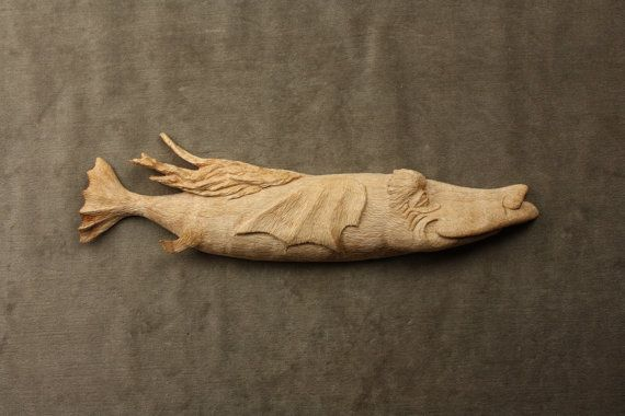 Whimsical fish art wood carving personalized on etsy for Fish wood carving