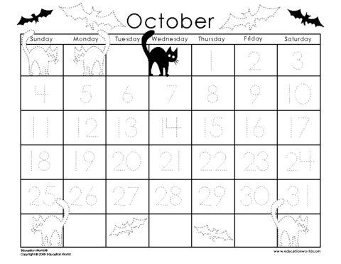 October 2009 Traceable Calendar Template | preschool | Pinterest