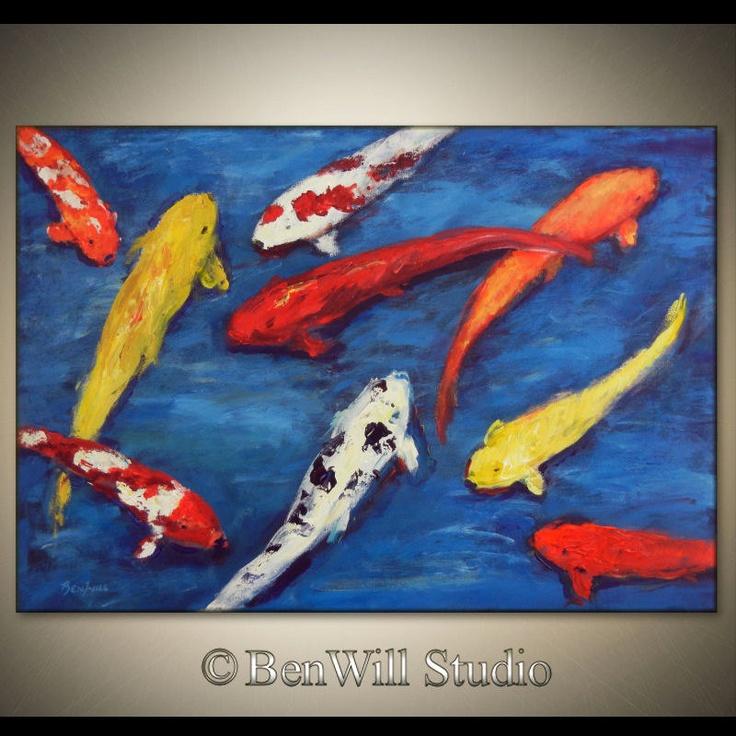 Koi fish art original large abstract painting orange for Blue and orange koi fish