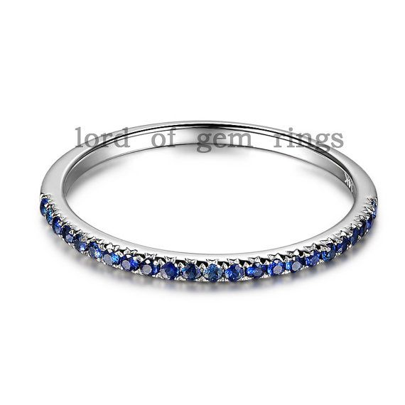 birthstone natural blue sapphires wedding band ring solid
