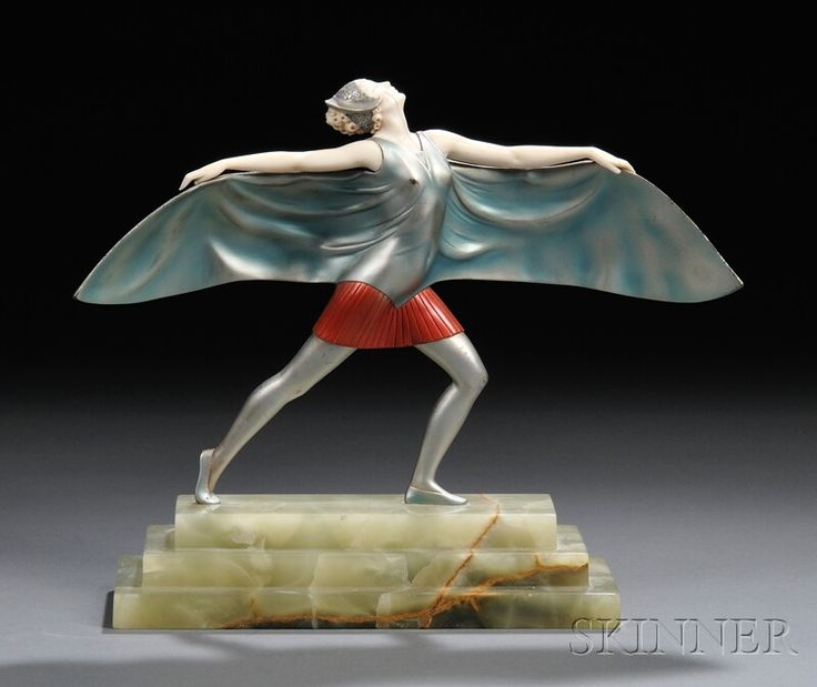 Continental School, 20th Century Cold-painted Bronze and Ivory Figure of an Art Deco Dancer