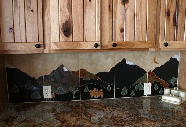 Kitchen backsplash the wild wild west pinterest for Log cabin kitchen backsplash ideas