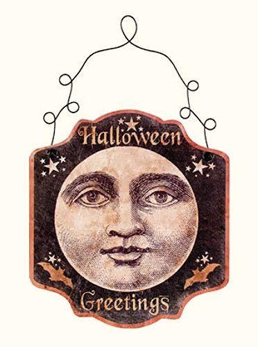 New Primitive Vintage HALLOWEEN GREETINGS MOON Tin Plaque Sign Hanging    Vintage Halloween Moon