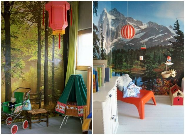 nature wallpaper mural kids room  Children  Pinterest