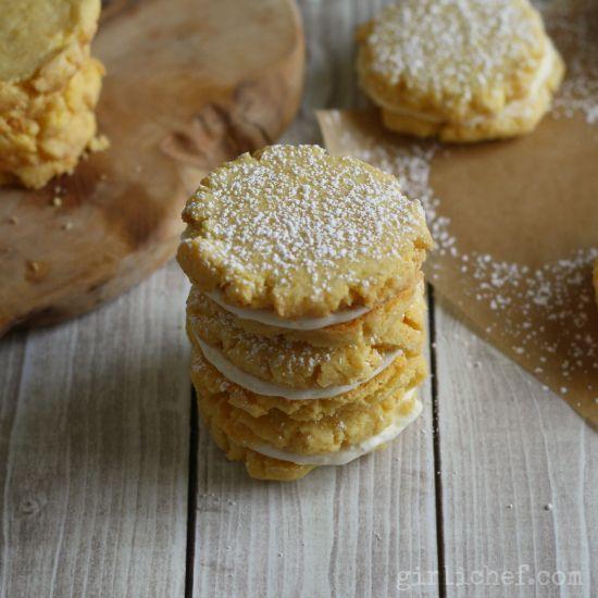 Lemon Cornmeal Sandwich Cookies | www.girlichef.com
