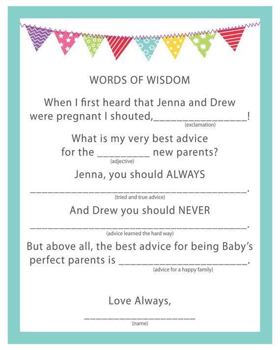 baby shower game activity words of wisdom by creativewildchild
