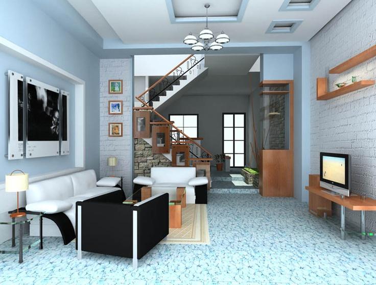 thiết kế phòng khách đẹp có cầu thang