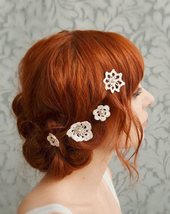 Crochet Hair Accessories Video : Lace hair accessories, wedding bobby pins, bridal hair pins, crochet ...