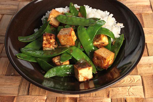 Snow Pea and Sesame Stir-Fry A quick stir-fry of tofu and snow peas ...