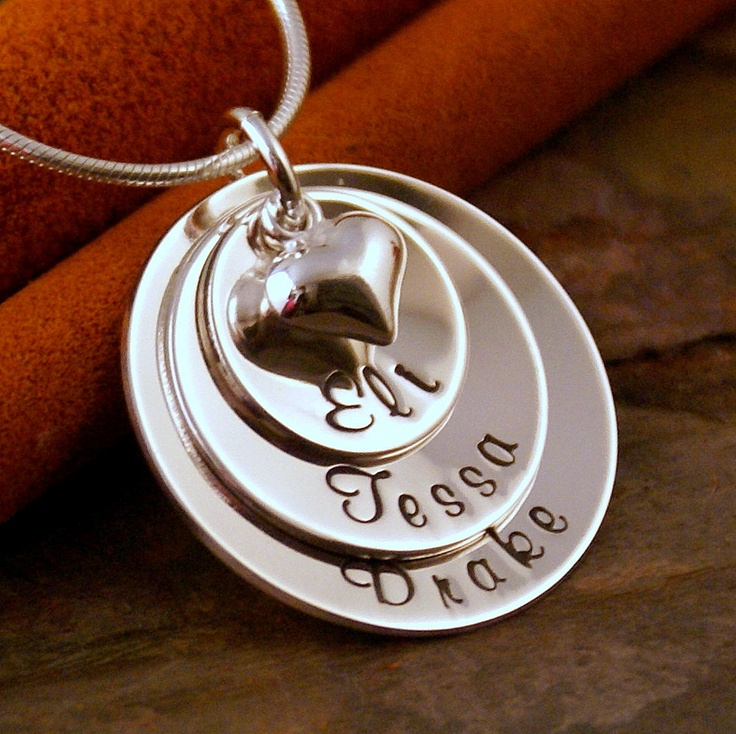 Personalized Jewelry - Hand Stamped Mommy Neckalce - Layered Sterling Silver Necklace - Loved Domed Family Stack of Three. $58.00, via Etsy.