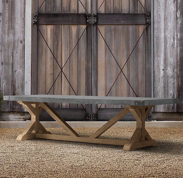 Outdoor dining table outdoor living spaces pinterest for Restoration hardware outdoor dining