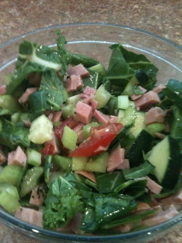 or Chicken {cold} ~collard greens, tomato, cucumber, red bell pepper ...