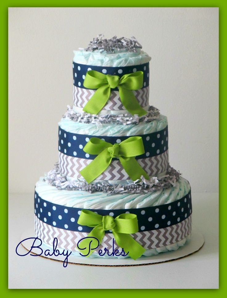 Grey green navy diaper cake baby shower decorations for Baby shower decoration diaper cake