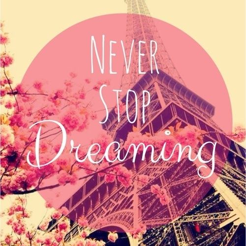 Never stop dreaming quotes pink flowers paris stop dreaming never