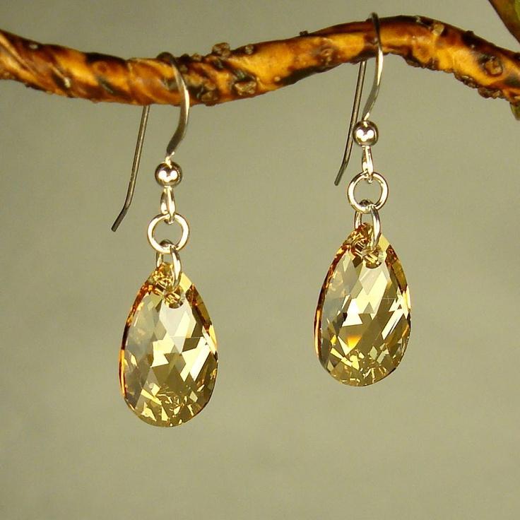 Jewelry by Dawn Sterling Silver Teardrop Golden Shadow Crystal Pear E…