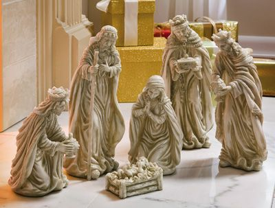 gentle nativity scene is sure to warm hearts. Resin