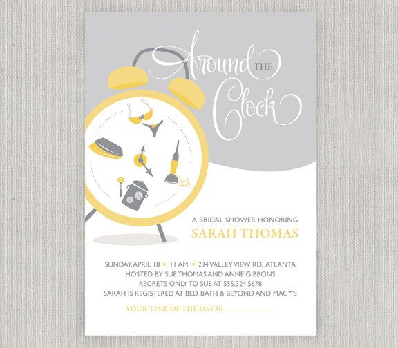 Around the Clock Bridal Shower Invitation.