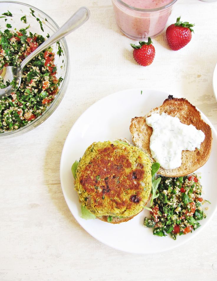 Baked chickpea burgers, vegan tabbouleh salad and vegetarian ...