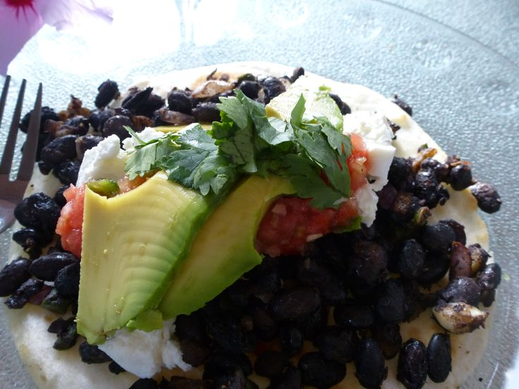 Chipotle and Black Bean Tostada's with Goat Cheese and Avacado on ...
