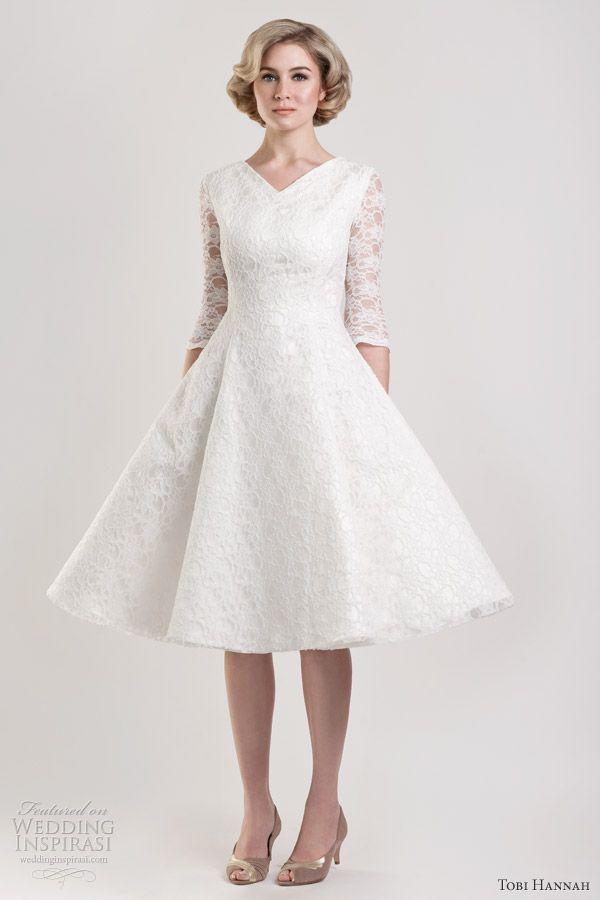 Wedding dress style: Knee length wedding dress mature bride