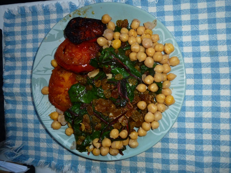 Red swiss chard with golden raisins, chickpeas and roasted tomatoes.