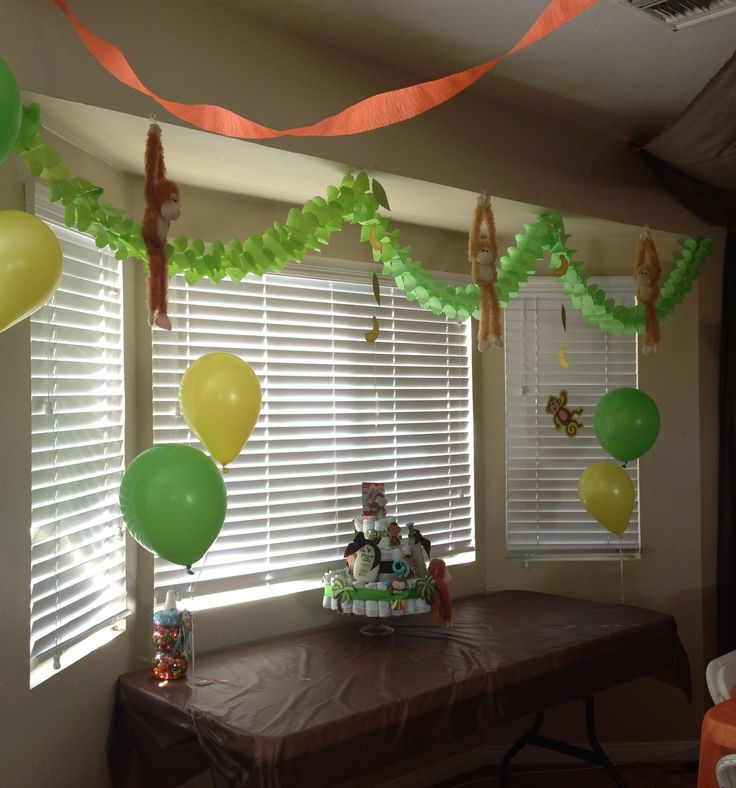 Baby Shower Safari Green Yellow Brown Orange Garland Garlands Lantern Lanterns Party Parties