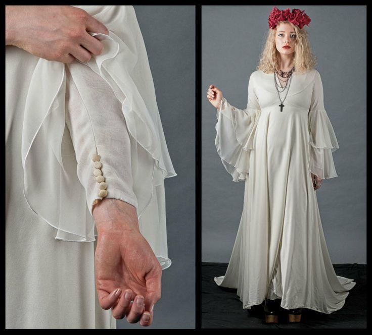 Bell Sleeve Wedding Dress: RARE 70s Boho Bell Sleeve Wedding Dress