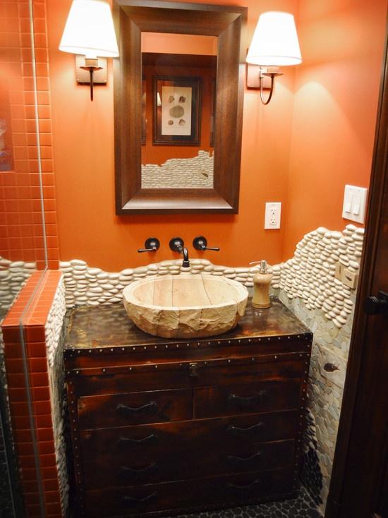 Black and orange bathrooms images for Bathroom ideas orange