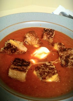 Homemade Tomato Soup with Grilled Cheese Croutons | Recipe