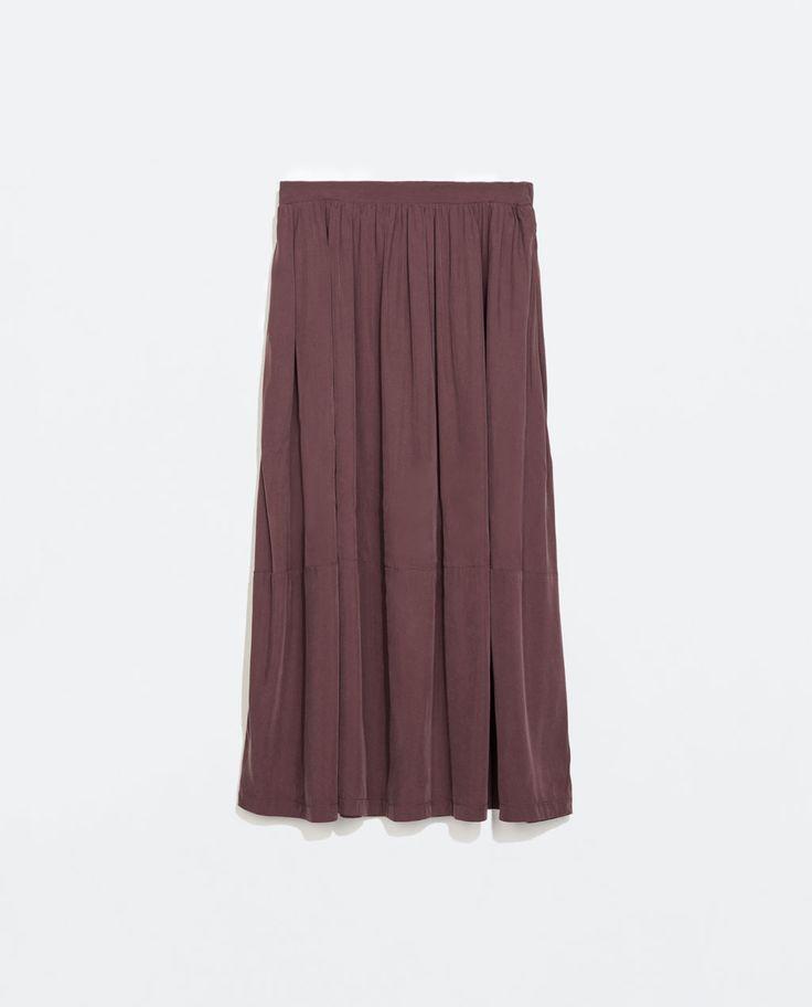 Zara Cupro Midi Skirt