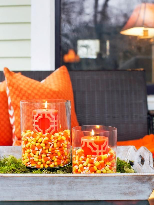 #Spooky #FrontPorch #Halloween Aromatic Candy Corn Candles>> http://www.hgtv.com/handmade/spooky-front-porch-decorating-ideas-for-halloween/pictures/page-3.html?soc=pinterest