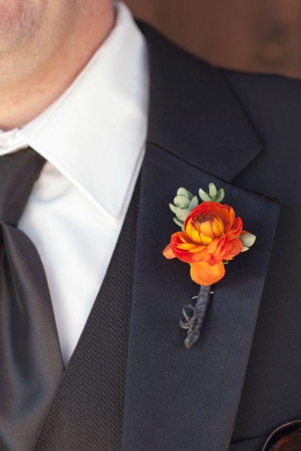 Orange Flower Boutonniere Orange And Turquoise Wedding Style Pint