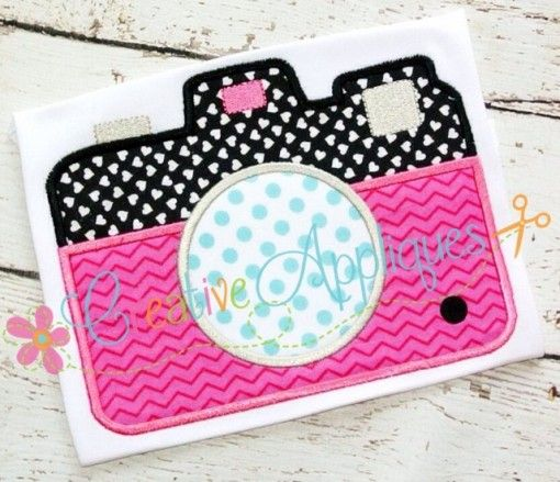 Camera applique girl 39 s embroidery designs pinterest for Applique camera bambini