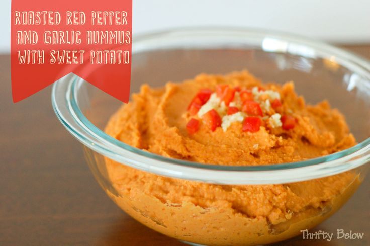 Roasted Red Pepper and Garlic Hummus with Sweet Potato   Thrifty Below