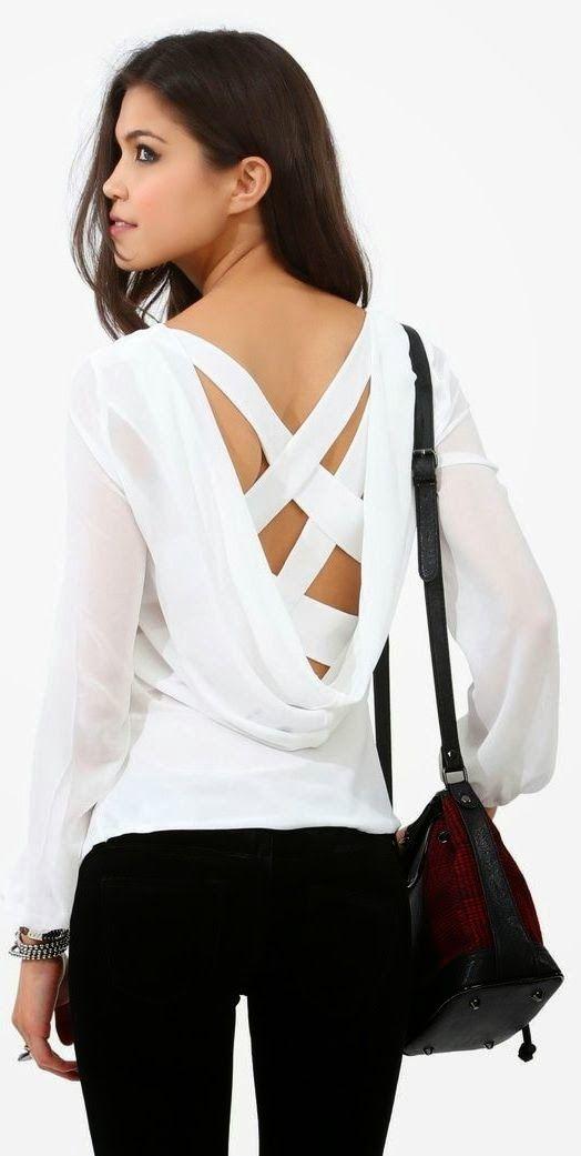 Criss cross long sleeve white blouse