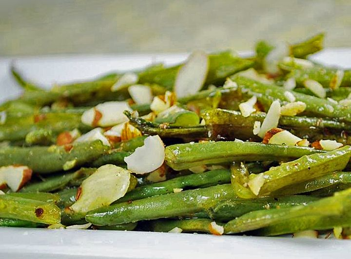 Lemon Roasted Green Beans with Marcona Almonds