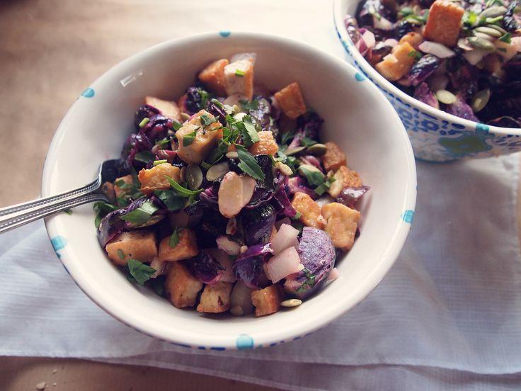 Brussels sprouts, crispy tofu, & mustard vinaigrette salad — LORE