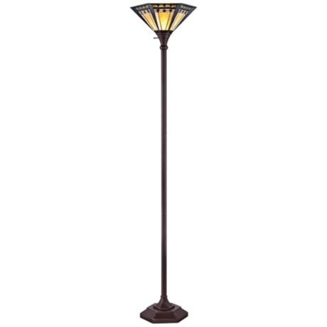 quoizel arden tiffany style torchiere floor lamp. Black Bedroom Furniture Sets. Home Design Ideas