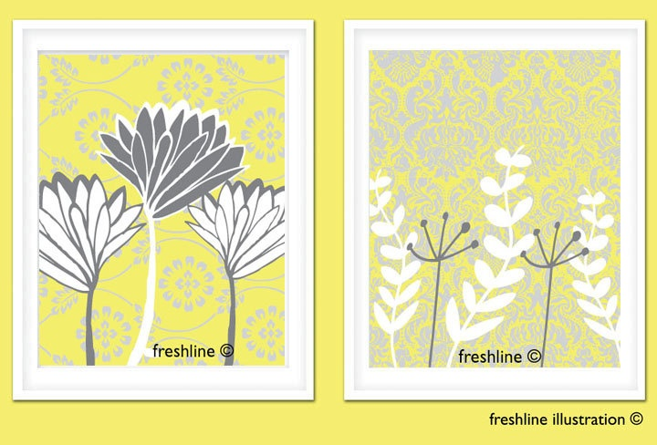 yellow and gray wall decor set set of two 8x10 art. Black Bedroom Furniture Sets. Home Design Ideas