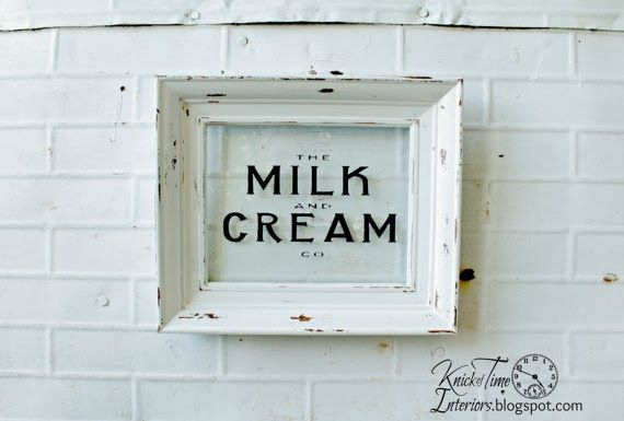 "DIY Repurposed Photo Frame into ""antique"" Dairy Sign ~~~ via knickoftimeinteri..."