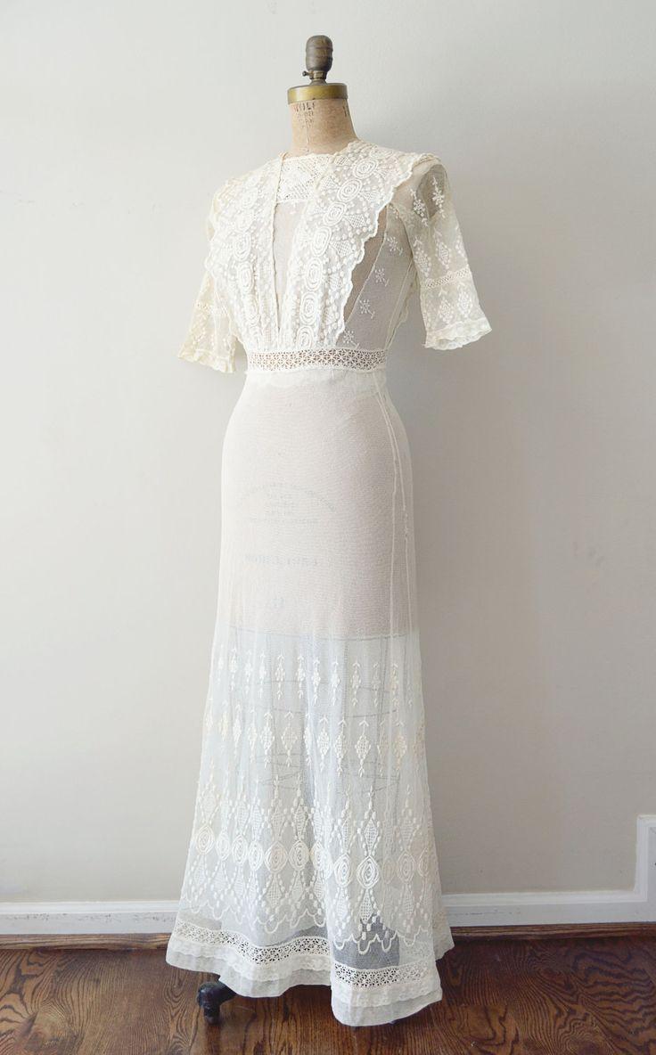 Vintage 1910s dress edwardian wedding dress antique for Vintage victorian wedding dresses