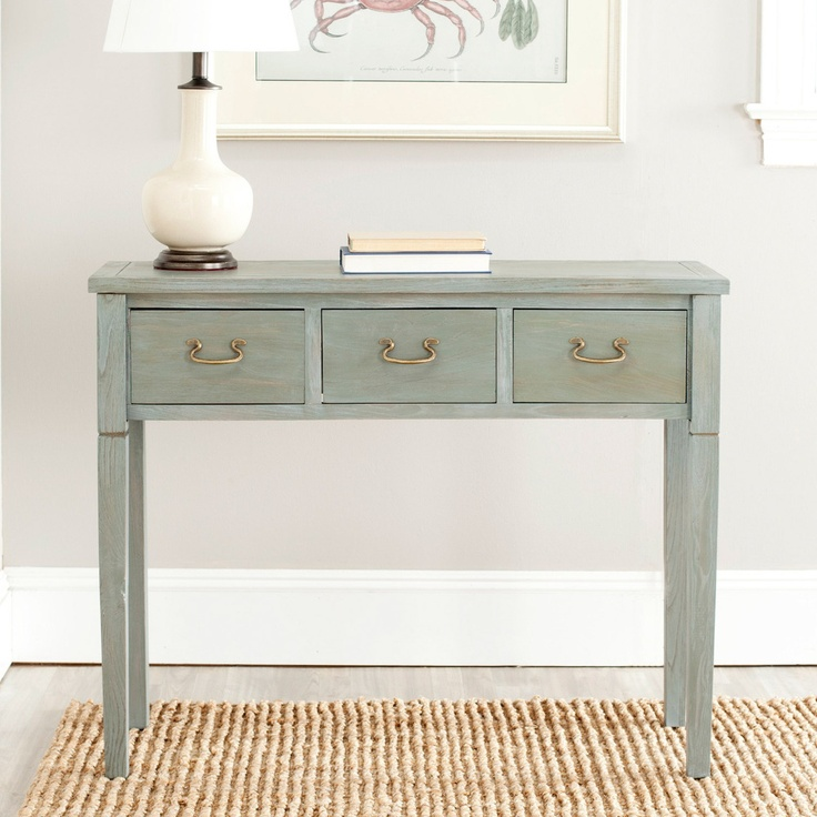 Sete 3 drawer Antiqued Grey Console Table