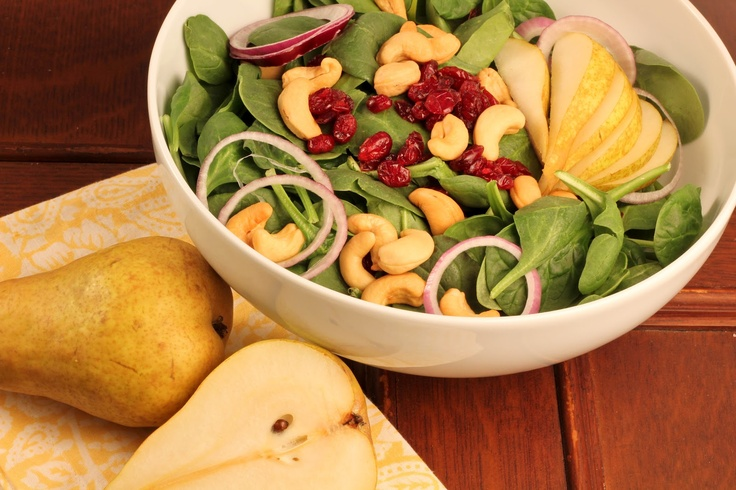 Spinach Salad with Pears, Cranberries and Cashews~ @Liz Berg (That ...