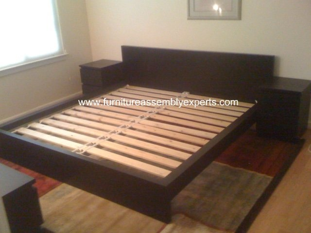Ikea Utrusta Bleibt Nicht Oben ~ ikea king size bed frame with 2 night stand assembled in Washington Dc