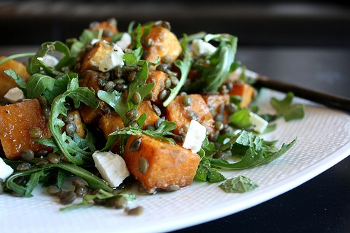 Spiced Squash, Lentil, and Goat Cheese Salad