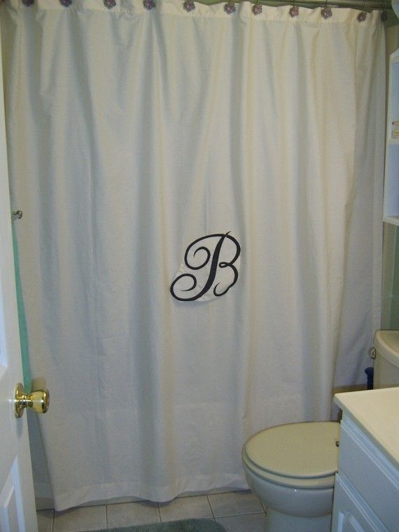 Personalized White Or Cream Shower Stall Curtain 54x72