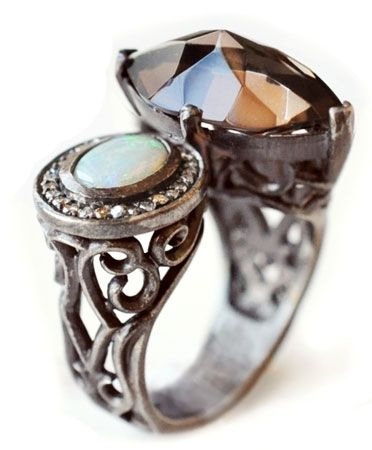 The new MADE HER THINK Collection : Catherine's Opal & Quartz Ring Beautiful!!!