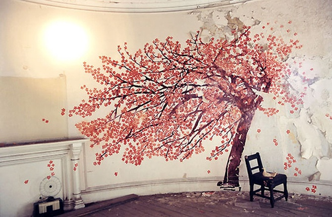 Cherry blossom mural interiors design style pinterest for Cherry blossom wallpaper mural