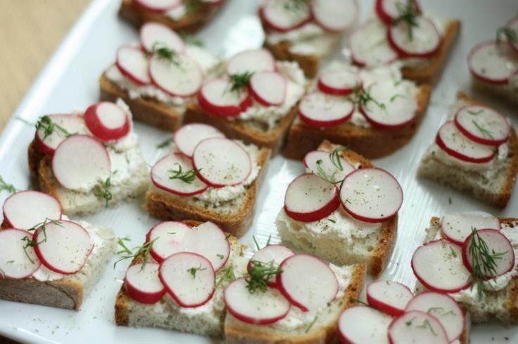 ... cucumber radish relish above open faced radish walnut tea sandwiches